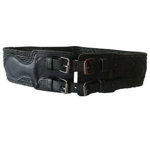🇨🇦 BCBG Maxazaria leather & cloth belt EUC